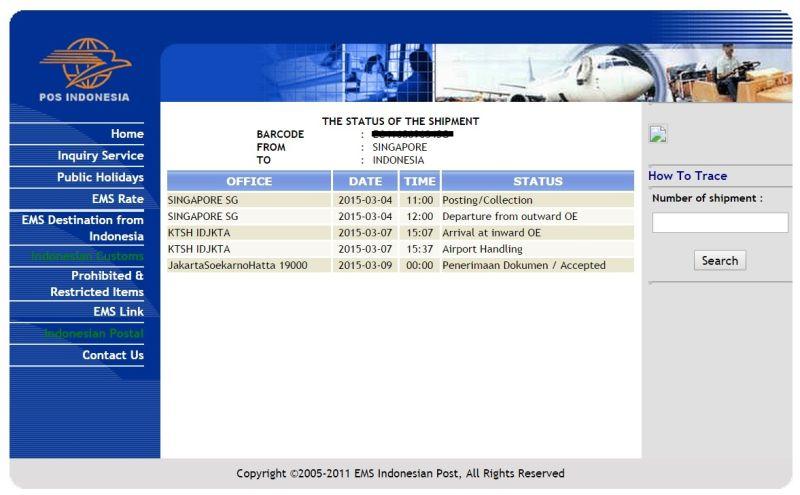 Penjelasan status kiriman ems - Departure from outward office of exchange ...