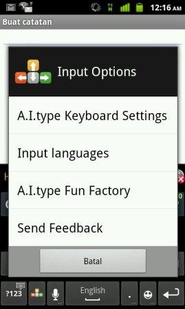 menu a.i. type keyboard