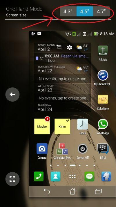Mode Pengoperasian Satu Tangan ASUS Zenfone 6