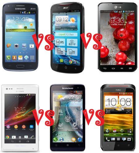 LG optimus L7 II dual P715 vs Samsung galaxy core duos I8262 vs Acer V370 liquid E2 vs Lenovo P770 vs HTC T328D Desire VC